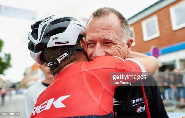 Mads Pedersen of TrekSegafredo winning the race and are new Danish Champion and celebrating with Kim Andersen after the Elite Mens Road Race in the...