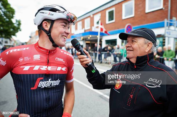 Mads Pedersen of TrekSegafredo winning the race and are new Danish Champion speaks to announcer Torben Joensen after the Elite Mens Road Race in the...