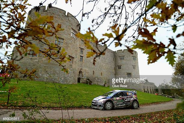 Mads Østberg of Norway and Jonas Andersson of Sweden compete in the Qatar MSport WRT Fiesta during the Chirk Castle stage of the FIA World Rally...