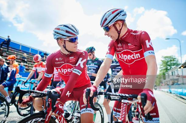 Mads Wurtz Schmidt and Michael Morkov of Team KATUSHA ALPECIN talking prior to the Elite Mens Road Race in the Danish Road Cycling Championships on...