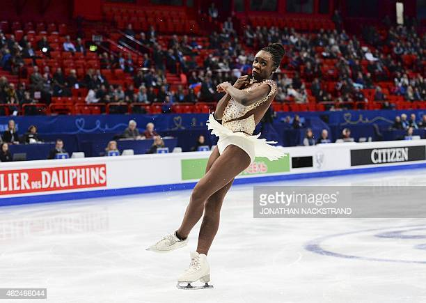 Mae Berenice Meita of France performs on ice during the ladies short program of the ISU European Figure Skating Championships on January 29 2015 in...