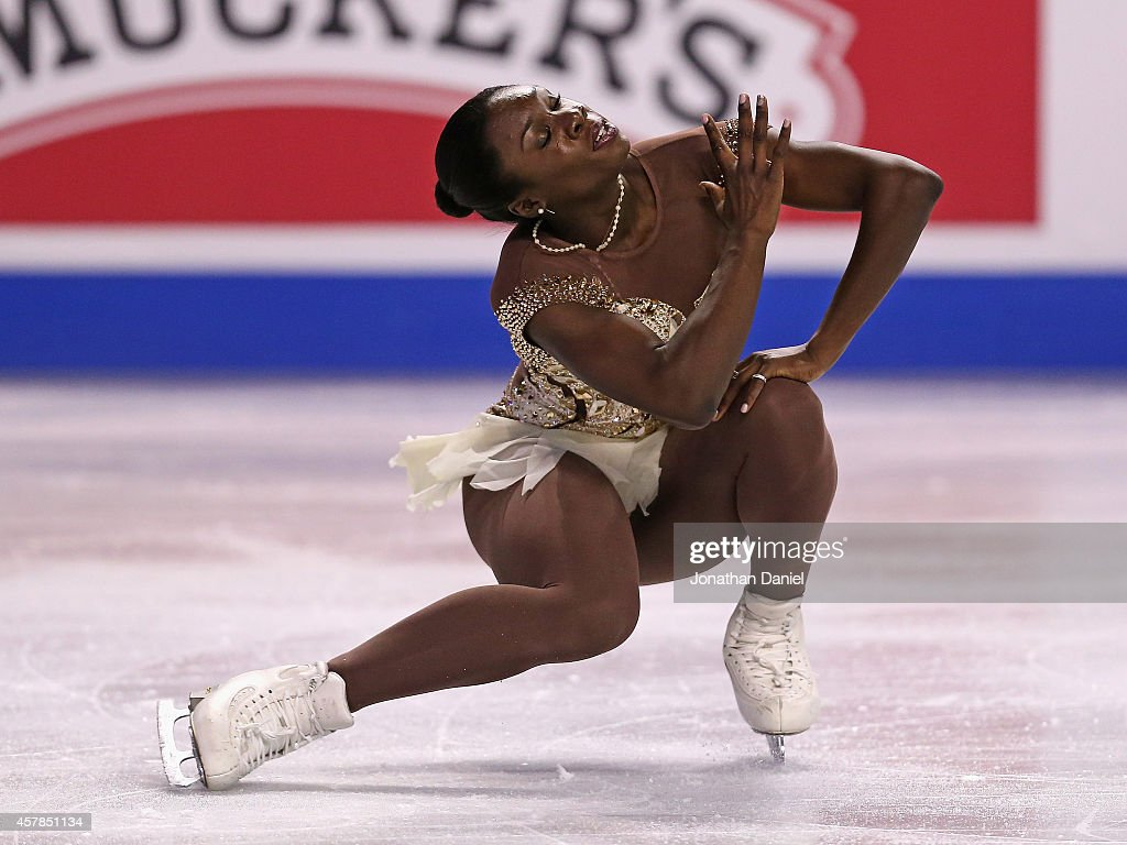 Mae Berenice Meite competes in the Ladies Short Program during the 2014 Hilton HHonors Skate America competition at the Sears Centre Arena on October 25, 2014 in Hoffman Estates, Illinois.