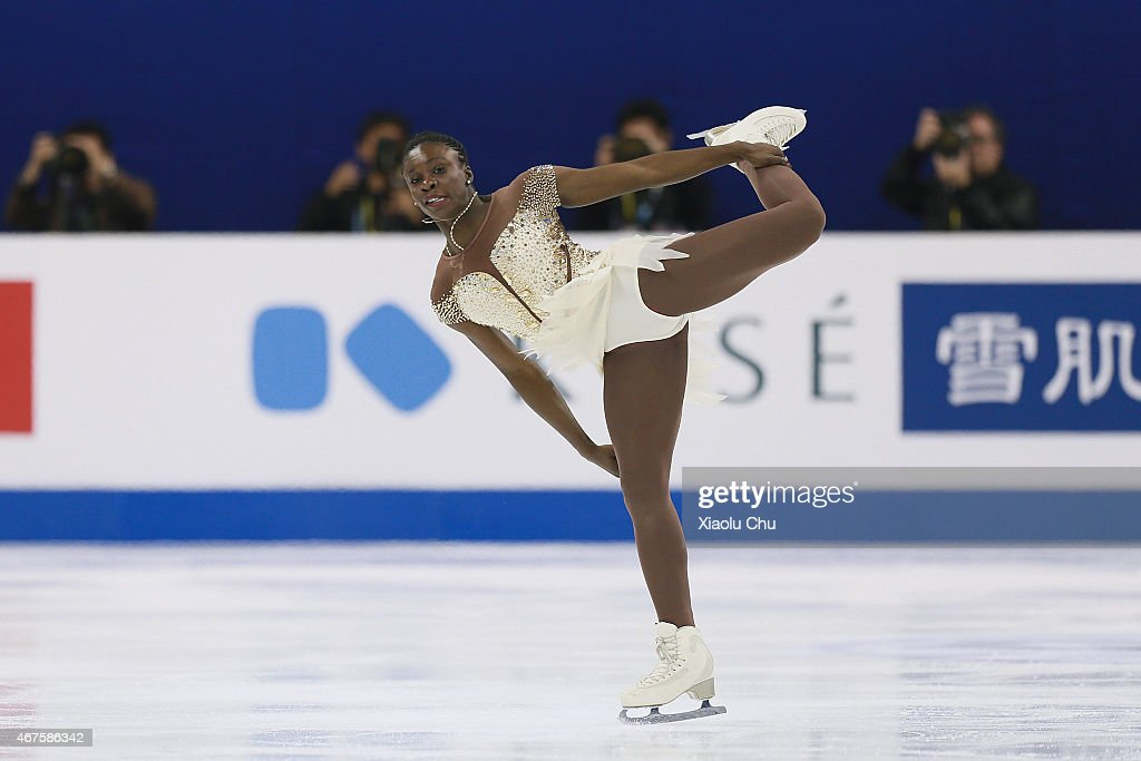 Mae Berenice Meite of France performs during the Ladies Short Program on day two of the 2015 ISU World Figure Skating Championships at Shanghai Oriental Sports Center on March 26, 2015 in Shanghai, China.