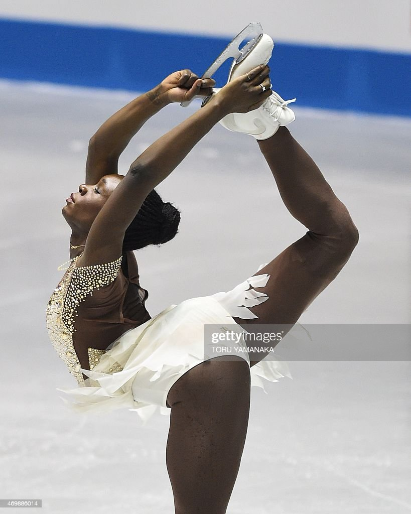 Mae Berenice Meite of France performs during the women's short program in the ISU World Team Trophy in Tokyo on April 16, 2015. AFP PHOTO / Toru YAMANAKA