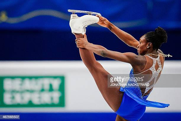 Mae Berenice Meite of France performs on ice during the ladies free skating routine of the ISU European Figure Skating Championships on January 31...