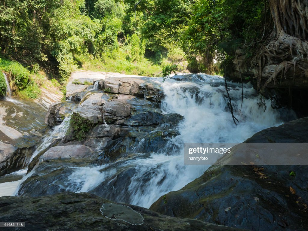 Mae Klang waterfall, Doi Inthanon national park, Chiang Mai, Tha : Stock Photo