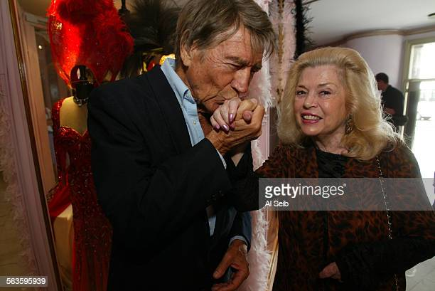 HOLLYWOOD CA Mae West celebration on the day that would have been her 109th birthday Actress Sandra Giles is greeted by Mickey Hargitay one of Mae...
