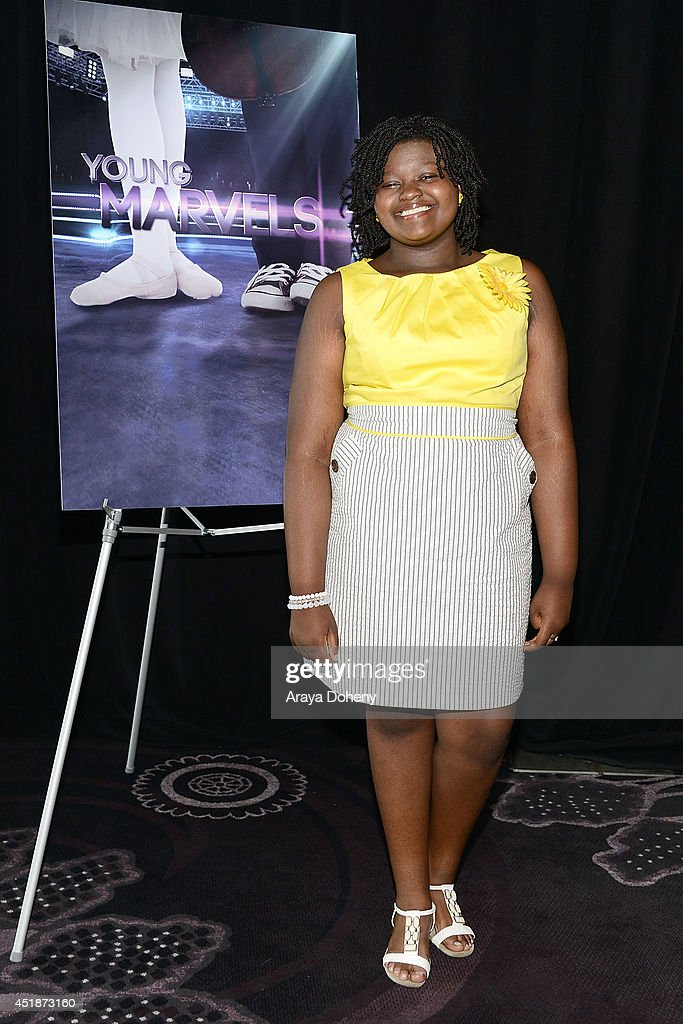 Mae Ya Carter poses backstage for the Ovation TV's 'Young Marvels' panel of the 2014 Summer Television Critics Association at The Beverly Hilton Hotel on July 8, 2014 in Beverly Hills, California.