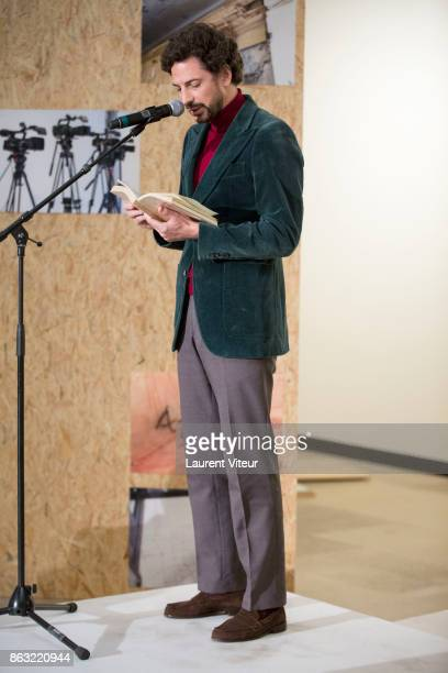 Mael Renouard reads 'Tombeau pour Cinq Cent Mille Soldats' for 50th anniversary of the book at Azzedine Alaia Gallery on October 19 2017 in Paris...