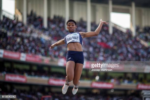 Maelly Dalmat of France competes in the girls long jump during day 5 of the IAAF U18 World Championships at Moi International Sports Centre Kasarani...