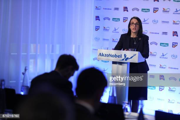 Maelys Castella chief financial officer of Akzo Nobel NV speaks during a news conference in London UK on Wednesday April 19 2017 Akzo Nobel battling...
