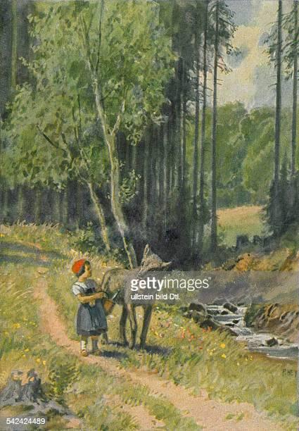 Maerchen Illustration zu 'Rotkaeppchen' einem Maerchen aus den 'Kinder und Hausmaerchen' hrsg von Jacob und Wilhelm Grimm oJ