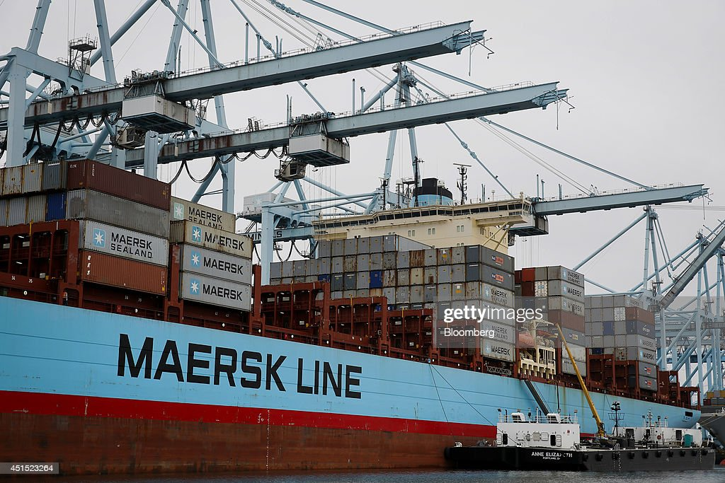 A Maersk Line container ship is unloaded and refueled at the Port of Los Angeles in San Pedro California US on Monday June 30 2014 A sixyear labor...