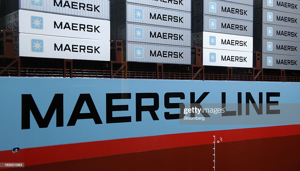 Maersk Line signage is displayed on the side of a model of the Regina Maersk container ship displayed at the company's offices in Singapore, on Monday, March 11, 2013. Maersk Line, the world's biggest container shipping company, expects rate increases later this week, Chief Executive Officer Soren Skou said in a briefing. Photographer: Munshi Ahmed/Bloomberg via Getty Images