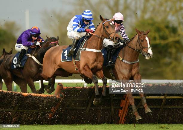 Maestro Royal ridden by Andrew Tinkler jumps the last to win the EBF/32Red National Hunt Maiden Hurdle Race