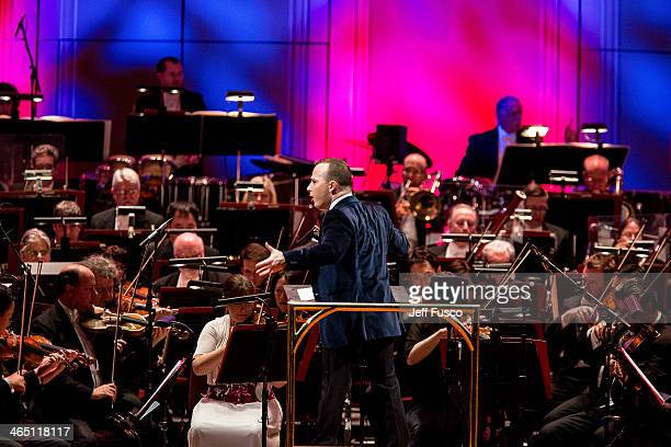 Maestro Yannick NzetSguin conducts the Philadelphia Orchestra at the Academy of Music's 157th Anniversary Concert at the Academy of Music January 25...