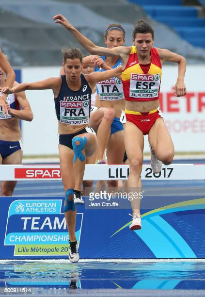 Maeva Danois of France Irene Sanchez of Spain during the 3000m Steeplechase on day 2 of the 2017 European Athletics Team Championships at Stadium...