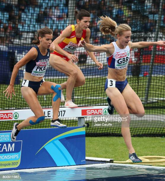 Maeva Danois of France Irene Sanchez of Spain Lennie Waite of Great Britain during the 3000m Steeplechase on day 2 of the 2017 European Athletics...