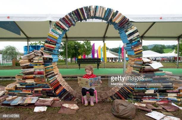 Maeve Magee reads a book during the Hay Festival on May 28 2014 in HayonWye Wales The Hay Festival is an annual festival of literature and arts which...