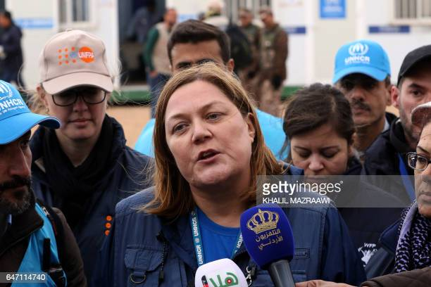 Maeve Murphy Senior operations Manager from UNHCR speaks to journalists in front of the UNoperated Rukban medical center near the JordanSyria border...