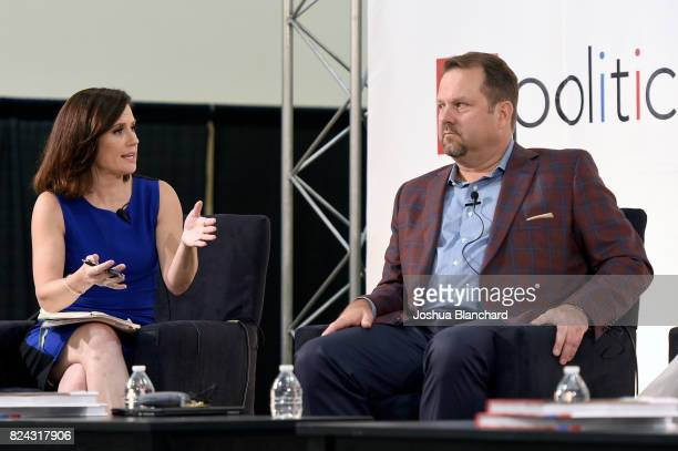 Maeve Reston and Rob Stutzman at the 'CNN How Democrats Can Emerge From the Wilderness' panel during Politicon at Pasadena Convention Center on July...
