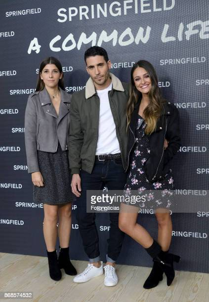 Mafalda SajoniaCoburgo Miguel Angel Silvestre and Andrea Molina attend the Springfield new collection presentation photocall at Camera Studio on...