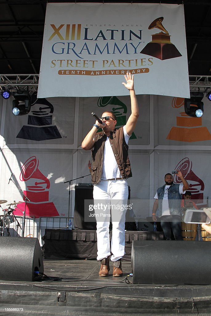 Maffio performs during the Latin Grammy Street Party 2012 on November 4, 2012 in Hialeah, Florida.