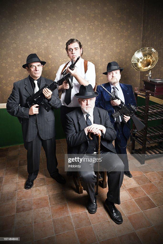 Mafia family, boss with sons