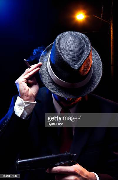 Mafia Mob Man With Gun and Cigar