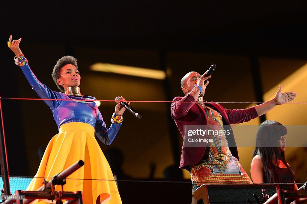 Mafikizolo of South Africa performs during the Nelson Mandela Sports & Cultural day music concert at the FNB Stadium on August 17, 2013 in Soweto, South Africa. The event is a tribute to honour the life of former president Nelson Mandela. Nelson Mandela is still in the Medi-Clinic Heart Hospital in Pretoria in a critical but stable condition.
