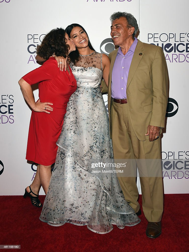 Magali Rodriguez, actress Gina Rodriguez and boxing referee Genaro Rodriguez pose in the press room at The 41st Annual People's Choice Awards at Nokia Theatre LA Live on January 7, 2015 in Los Angeles, California.