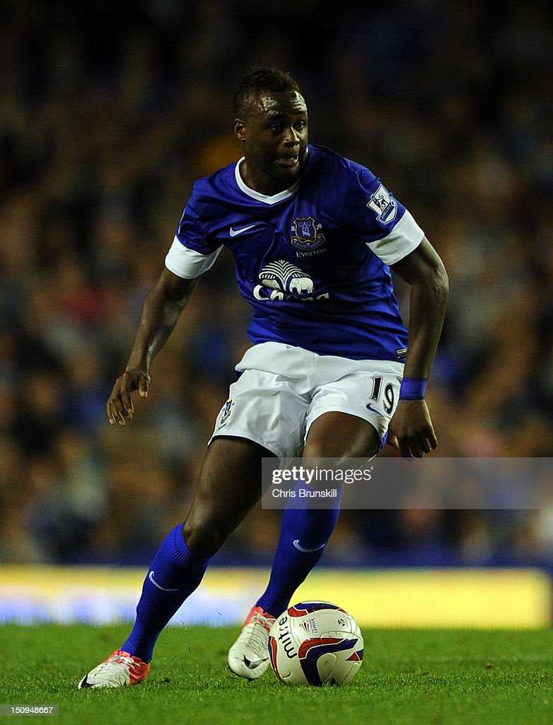 <a gi-track='captionPersonalityLinkClicked' href=/galleries/search?phrase=Magaye+Gueye&family=editorial&specificpeople=7018117 ng-click='$event.stopPropagation()'>Magaye Gueye</a> of Everton in action during the Capital One Cup Second Round match between Everton and Leyton Orient at Goodison Park on August 29, 2012 in Liverpool, England.