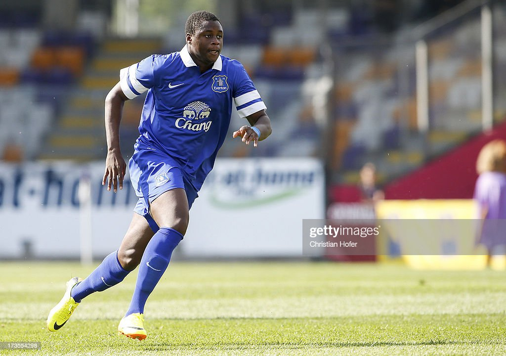<a gi-track='captionPersonalityLinkClicked' href=/galleries/search?phrase=Magaye+Gueye&family=editorial&specificpeople=7018117 ng-click='$event.stopPropagation()'>Magaye Gueye</a> of Everton in action during the preseason friendly match between Austria Wien and FC Everton at the Generali Arena on July 14, 2013 in Vienna, Austria.