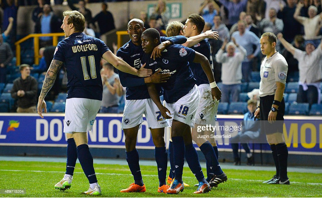 <a gi-track='captionPersonalityLinkClicked' href=/galleries/search?phrase=Magaye+Gueye&family=editorial&specificpeople=7018117 ng-click='$event.stopPropagation()'>Magaye Gueye</a> of Millwall FC celebrates scoring Millwall's 2nd goal during the Sky Bet Championship match between Millwall and Wigan Athletic at The Den on April 14, 2015 in London, England.