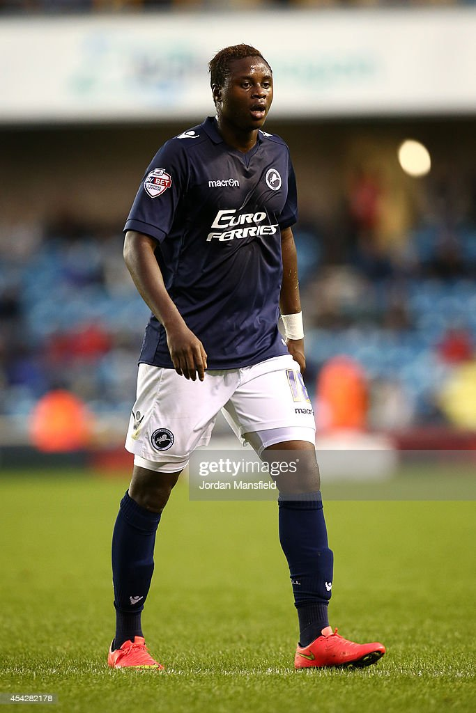 <a gi-track='captionPersonalityLinkClicked' href=/galleries/search?phrase=Magaye+Gueye&family=editorial&specificpeople=7018117 ng-click='$event.stopPropagation()'>Magaye Gueye</a> of Millwall in action during the Capital One Cup Second Round match between Millwall and Southampton at The Den on August 26, 2014 in London, England.