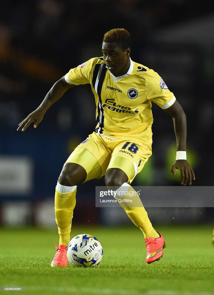 <a gi-track='captionPersonalityLinkClicked' href=/galleries/search?phrase=Magaye+Gueye&family=editorial&specificpeople=7018117 ng-click='$event.stopPropagation()'>Magaye Gueye</a> of Millwall in action during the Sky Bet Championship match between Sheffield Wednesday and Millwall at Hillsborough Stadium on August 19, 2014 in Sheffield, England.