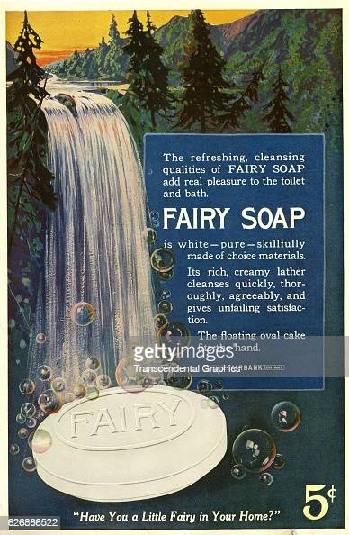 Magazine advertisement for Fairy Soap with a bubbling waterfall Battle Creek Michigan April 1917