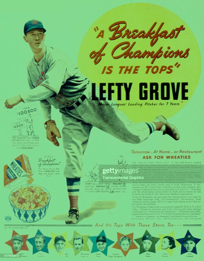 A magazine advertisement using <a gi-track='captionPersonalityLinkClicked' href=/galleries/search?phrase=Lefty+Grove&family=editorial&specificpeople=218140 ng-click='$event.stopPropagation()'>Lefty Grove</a> of the Red Sox to promote breakfast cereal was created by General Foods circa 1940 in Minneapolis, Minnesota.