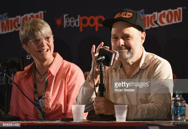 Magazine contributors Teresa Burns Parkhurst and Joe Raiola speak during the Mad Magazine Celebrates 65Year Legacy With Legendary Creative Team...