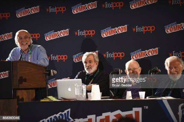 Magazine Editor in Chief John Ficarra speaks with Mad artists and writers Sam Viviano Al Jaffee and Nick Meglin during the Mad Magazine Celebrates...