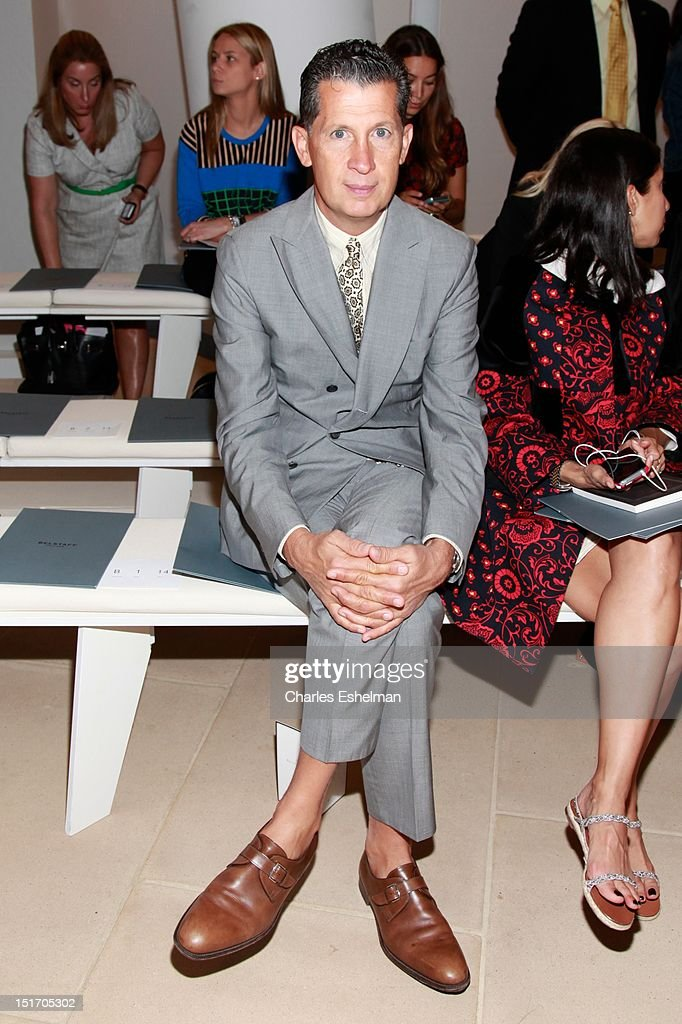 W magazine editor <a gi-track='captionPersonalityLinkClicked' href=/galleries/search?phrase=Stefano+Tonchi&family=editorial&specificpeople=2497117 ng-click='$event.stopPropagation()'>Stefano Tonchi</a> attends Belstaff Spring 2013 at the IAC Headquarters on September 10, 2012 in New York City.