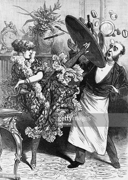 Magazine illustration shows Sara Bernhardt kicking a waiter's tray in Police Gazette