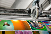 Magazine offset printing machine close up