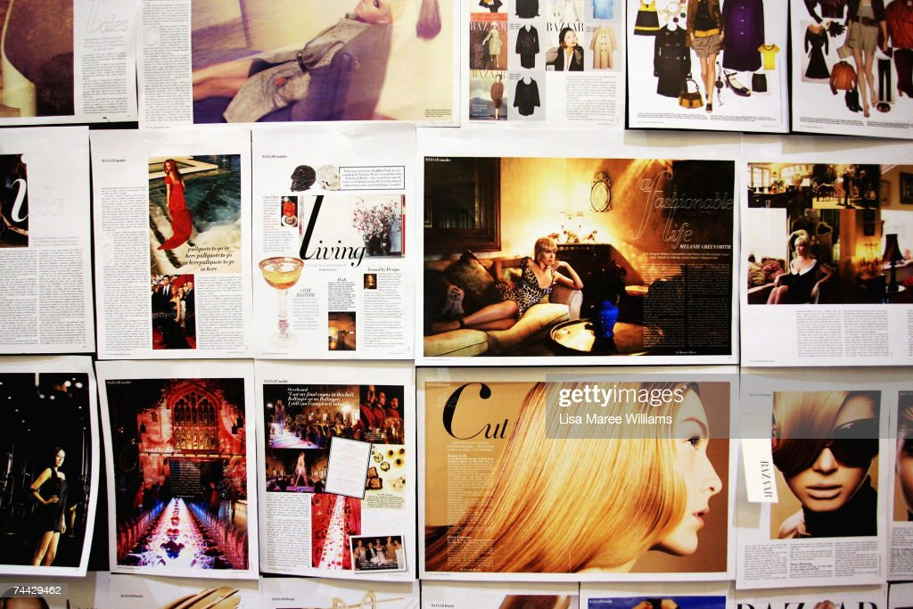 Magazine pages grace the walls of the Harpers Bazaar PopUp Store a recreation of the magazine editor Alison VenessMcGourty's office selling discount...