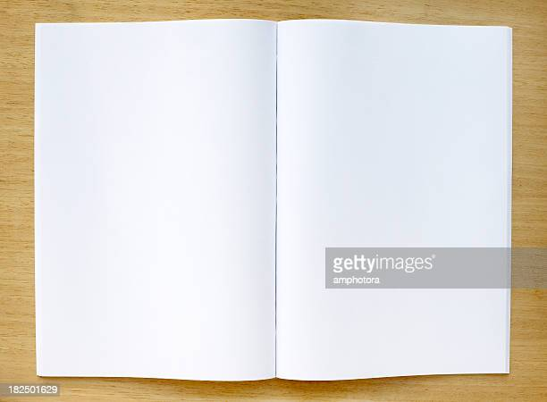 Magazine with blank pages on a table