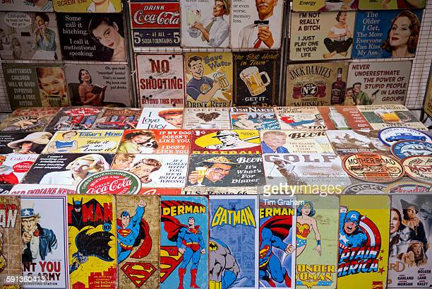 Magazines cartoons comics Batman Superman Wonder Woman Captain America and posters on sale at stall New York USA