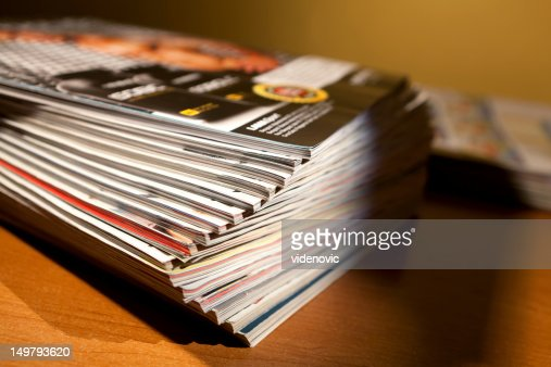 Magazines on the table : Stock Photo