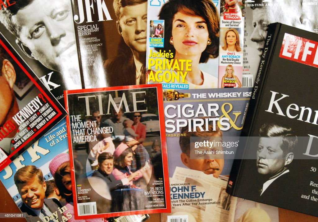 Magazines, that feature John F. Kennedy and his assassination, are seen on November 19, 2013 in New York. The 50th anniversary of the assassination of John F. Kennedy will be marked on November 22.