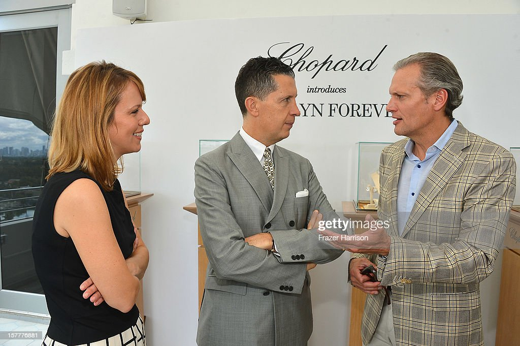 W magazine's Vice President and Publisher Lucy Kriz and Editor-in-Chief Stefano Tonchi, and President and CEO at Chopard U.S. Marc Hruschka attend the Chopard and W Magazine 'Marilyn Forever' exhibition at Soho Beach House on December 6, 2012 during Art Basel Miami in Miami Beach, Florida.