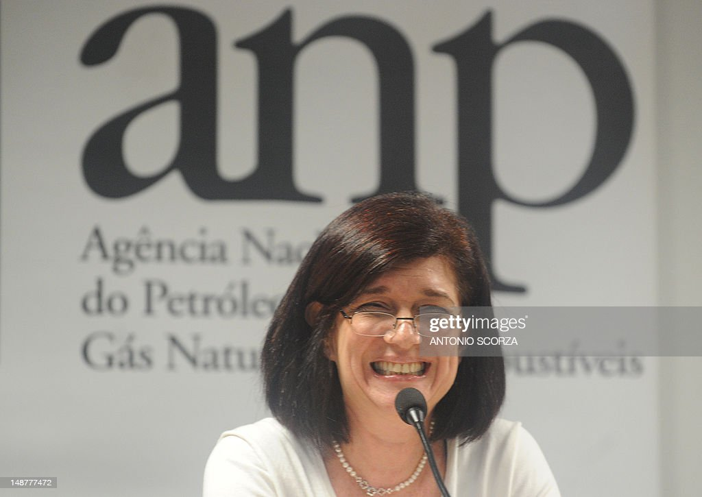 Magda Chambriard, Brazil's National Oil Agency president,speaks during the presentation of the final report on the November 2011 Chevron oil spill occured at the Frade oilfield in the Atlantic Ocean in front of the Campos marine basin, some 300Km north of Rio de Janeiro, during a press conference in Rio de Janeiro, Brazil, on July 19, 2012.